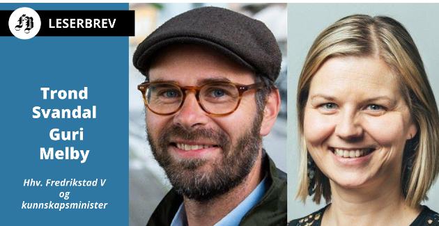 Brevforfatterne fra Venstre i Fredrikstad bystyre og Kunnskapsdepartementet, Trond Svandal og Guri Melby.