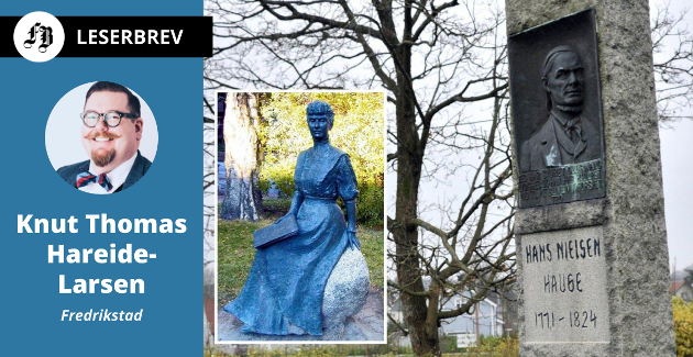 Hans Nielsen Hauge-bautaen på Rolvsvøy med statuen av Katti Anker Møller innfelt.