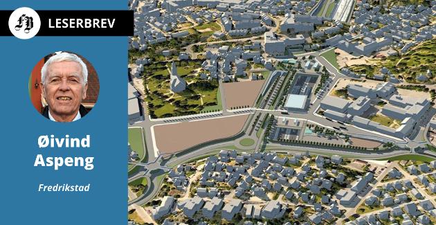 Aspengs forslag prioriterer ny stasjon og kollektivknutepunkt på Grønli sammen med utvidet fv 110 gjennom sentrum, samt dobbeltspor mot Råde. Illustrasjon: Bane NOR/Statens vegvesen
