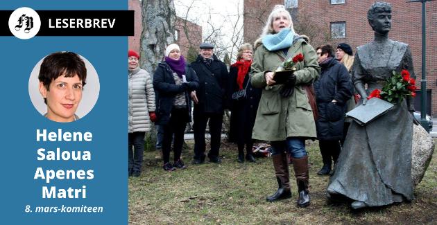 Her hører Katti Anker Møller hjemme, og da bør en del av parken ved biblioteket få hennes navn, ifølge 8.  mars-komiteen. Bildet er fra 8. mars 2015 da Torill Stokkan ble tildelt feministprisen.