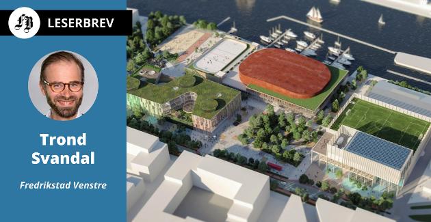 Ishallen Arena Fredrikstad (nærmest elven), ny Frederik II videregående skole og idrettshall i konseptet «Campus» som ble foretrukket i fylkeskommunens designkonkurranse for ett år siden.