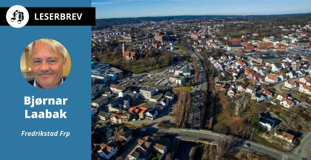 – Båndlegging av store områder rundt planlagt knutepunkt og trasé må tidsbegrenses, skriver Laabak. På bildet, området som siden 1990-tallet har vært  utpekt som stasjonsområde i Fredrikstad.