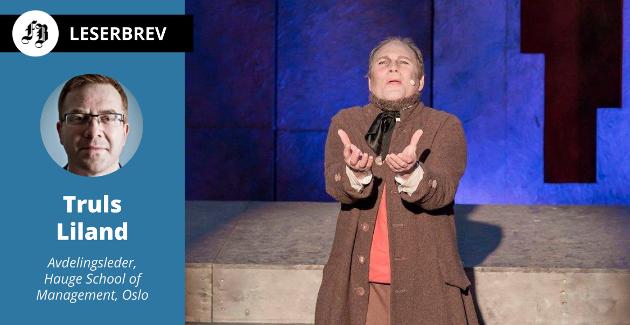 – Forkynnelsen hans var preget av et kall til omvendelse, helhjertet etterfølgelse av Jesus og en personlig relasjon til Gud, skriver Liland. På bildet Erik Wenberg Jacobsen som Hauge i musikalen i Gamlebyen 2017.