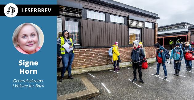 Pandemiperioden har tæret på kreftene til norske lærere. Bilde fra Begby skole da elevene  i slutten av april i fjor kunne ønskes velkommen tilbake etter stengningen.