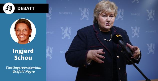 Statsminister Erna Solberg på pressekonferanse om nedstengningen av Oslo lørdag. Ingjerd Schou understreker hvor viktig det er folk  har fulgt råd og anbefalinger.