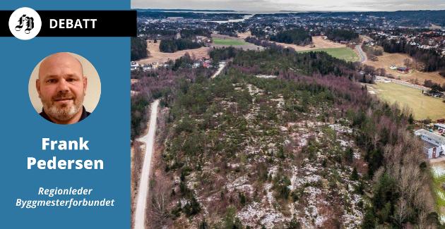 Byggmesterforbundet mener knappheten på  tomter vil gi høye priser på Brønnerødtoppen der Isegran Eiendom  skal legge ut boligtomter.
