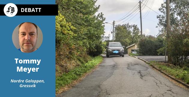 – Altfor trangt for at biler kan møtes i Bureveien, Gressvik.  Tommy Meyer frykter trafikkøkningen som vil følge av boligplanene på Galoppen.