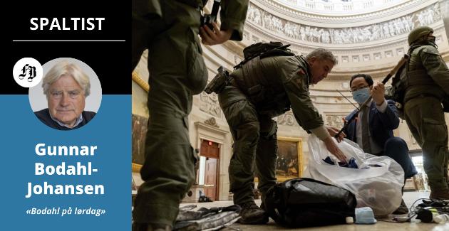 – Vi ventet på at demonstrantene  skulle gå løs på de historiske maleriene og statuene i Kongressen, og i verste fall ta i bruk våpen. Det skjedde heldigvis ikke. Bilde fra oppryddingen.