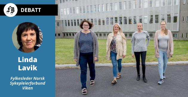 De fire sykepleierne som ble saksøkt av Sykehuset Østfold etter kravet om full stilling. Agnete Karlsen (nummer to fra venstre) har fått tilbud om full stillling. Sykepleierforbundet mener de tre andre,  Ann Christin Skrøder (fra venstre)  Elin Johannessen og Maria Vågsholm også har rett til heltidsjobb.