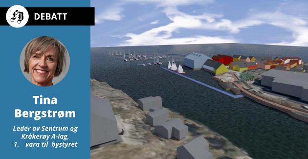 Marnet Marine Park ved Fjeldskilen, slik arkitekten har sett for seg at det planlagte ferieanlegget med blant annet 80 ferieleiligheter. – Høyre har støttet planen, men snudde i bystyret, anklager Tina Bergstrøm. Modell: Rambøll