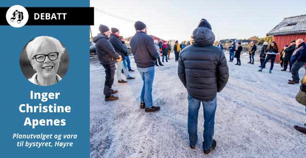 Både utbyggere og  naboer på plass under planutvalgets befaring på Marnet. Inger Christine Apenes mener Arbeiderpartiet er døv for naboenes protester.