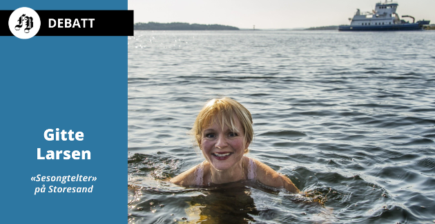 Ordfører Mona Vauger elsker å bade på Storesand. Her får hun det glatte lag for saken om endret drift av teltplassen.