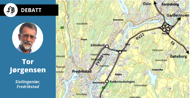 Jørgensens løsning for å knytte Fredrikstad til hovedveisystemet er ny bru over Glomma ved Råbekken og ny Rv. 22 som går fra Øra og krysser E6 og tar trafikken til Gardermoen og videre nordover Østlandet.