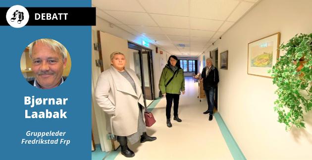 Anita Nock (Frp), Marianne Kristiansen (Pp) og Bjørnar Laabak (Frp) ble enda mer overbevist om at det er riktig å gjenåpne Emil Mørchs Minne etter at de fikk sjekke tilstanden i november i fjor. Her er de i andre etasje, som fortsatt har inventar fra da sykehjemmet var i bruk.