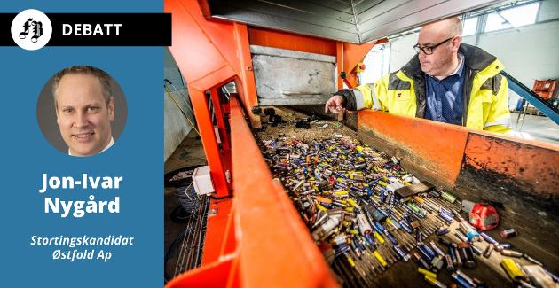 Batteriretur på Øra er ett av Nygårds eksempler på bedrifter som inngår i det grønne skiftet og skaper arbeidsplasser for fremtiden. På bildet daglig leder Fredrik Andresen.
