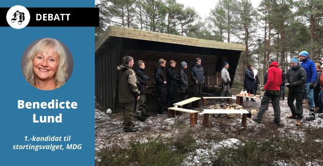 Benedicte Lund vil at bygdemiljøpakker i større grad skal brukes for et attraktivt og miljøvennlig liv på bygda. Bilde fra åpning av gapahuk i Onsøy.