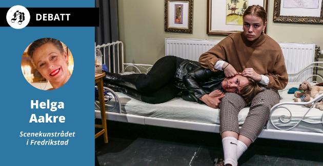 Helga Aakre beskriver en dyster situasjon for scenekunsten og kulturlivet, her illustrert gjennom en scene med Kristine Ulfeng og datteren Lea  fra stykket «Havsens bunn» som Caféteatret satte opp i oktober i fjor.