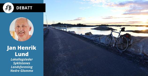 Distriktets nye attraksjon, med trygge forhold for syklister, en litt kald marskveld.