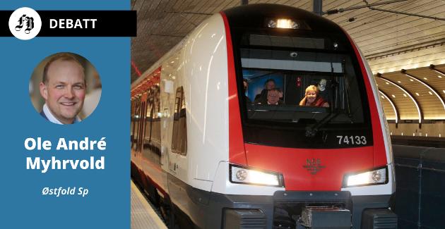 Fra regjeringspartienes presseseanse på Oslo S for å fortelle om planene for strekningen til Hønefoss.  – Det er ikke dyrere å bygge jernbane i Østfold, fastslår Myhrvold.