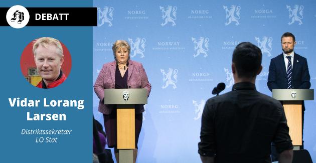 Solberg og Høie på pressekonferanse om koronatiltak.  – Regjeringa opplever nå verdien av statens institusjoner og ansatte. Men den avblåser ikke sitt forblindede, ideologiske korstog for såkalt avbyråkratisering og effektivisering, skriver Vidar-Lorang Larsen.