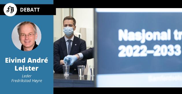 Samferdselsminister Knut Arild Hareide presenterer forslaget som gir null til jernbaneutbygging sør for Moss frem til 2033.