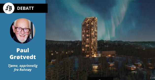 Det 20 etasjer høye hotellet er tenkt bygd litt opp i åsen ovenfor Sand Marina på Spjærøy. Illustrasjonen er fra tidlig konseptfase, så det er ikke sikkert at det er slik det blir til slutt.