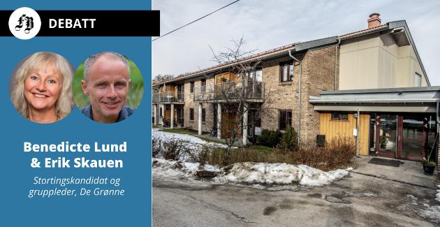 – Vi ønsker at det bygges omsorgsboliger i «klynger» hvor flere boliger etableres sammen, skriver Lund og Skauen. Bilde av omsorgsboligene i Smertulia, Kråkerøy.