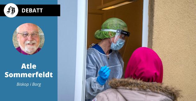 En test avslører om personen er smittet. En pandemi avslører ulike egenskaper hos oss mennesker, gode og mindre bra, ifølge biskop Atle Sommerfeldt.