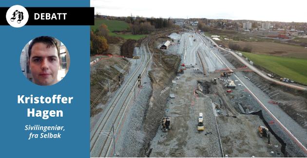 Follobanen og mosseprosjektet blir langt dyrere enn utbyggingen av Østfoldbanen lenger sør, etter Kristoffer Hagens beregning. Bilde fra anleggesarbeidet nord for Ski stasjon, november 2018.