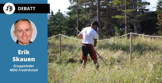 Arbeid med slåttemark på Letretangen ved utløpet av Elingaardskilen er ledd i kommunens arbeid med å ta vare på naturperler.