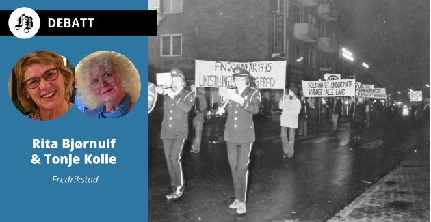 – Gjennomgangstonen var å vise søstersolidaritet og stå skulder ved skulder i kampen, skriver Bjørnulf og Kolle. Slik kom det til uttrykk med demonstrasjontog og parole om FNs kvinneår 1975.