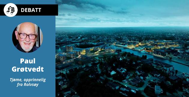 Grøtvedt skriver i innlegget at en tendens til stormannsgal  arkitektur har spredd seg også til Vesterelva i Fredrikstad, her illustrert ved fem år gammel modell for fremtidig utbygging.