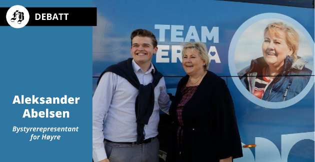 Aleksander Abelsen sammen med Erna Solberg under valgkampen i 2019, den som ga ham plass i bystyret i Fredrikstad.