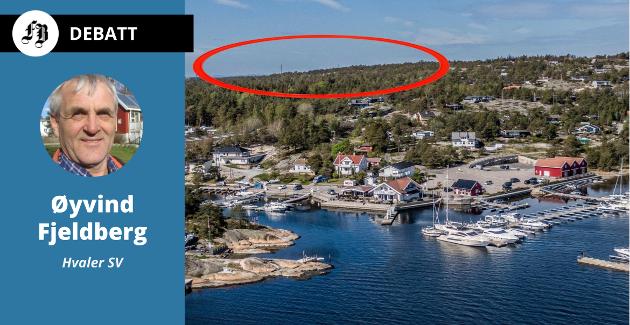 – Hver gang jeg kjører forbi Seut tenker jeg  «det er politikere på Hvaler som vil bygge en mer en dobbelt så høy bygning på Spjærøy». Hotellet er planlagt ved Sand, innenfor den røde sirkelen.