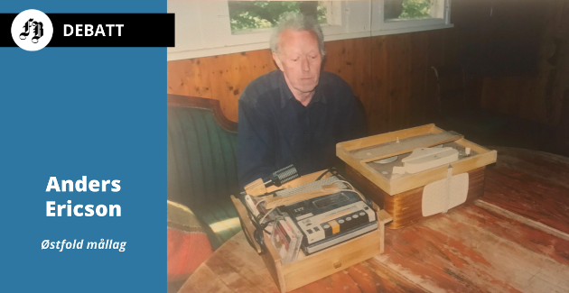 Kristian Strømshaug i 2001 saman med to generasjonar opptaksutstyr som han brukte til å kartleggje østfolddialektane.