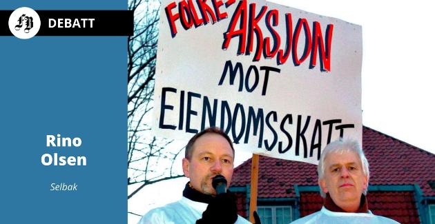 Protestene mot eiendomsskatt ga seg utslag ved valget i 2007. Flere tusen innbyggere gikk i fakketog i mars 2005. Rino Olsen (til venstre) og Tom Borger Magnussen holdt appell på Tollbodplassen før avgang mot rådhuset.
