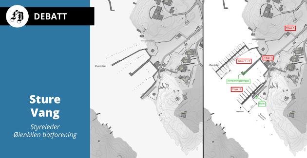 Eksisterende (til venstre) og planlagt bryggeløsning i Øyenkilen. Lederen for utvalget innstiller på å følge kommunedirektørens forslag om å si nei til den utvidelsen båtforeningen ønsker.