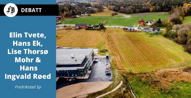 Coop har ønsker å sette opp et nytt Obs Bygg-varehus til høyre på dette jordet på Ørebekk. Rv. 110 til Råde i bakgrunnen.
