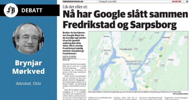 Fredrikstad/Sarpsborg som nytt stedsnavn ble forklart med byene har vokst sammen til en dobbeltby, i artikkelen 23. mars.