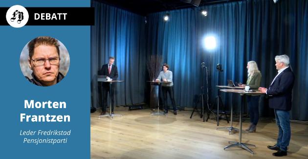 Bilde fra debatten som gitt uten Pensjonistpartiet, fra venstre Jon-Ivar Nygård, Ap, Solveig Schytz, Venstre, Benedicte Lund, MDG, og Bjørnar Laabak, Frp.