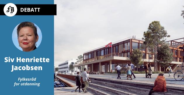 Nye Frederik II videregående skole er tiltenkt en meget attraktiv tomt ved bredden av Vesterelven.