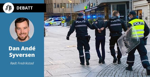 En pågrepet person føres bort under uroen på Stortorvet 17. mai. Innleggsforfatteren håper det kommer positiv lærdom ut av hendelsene, ikke hat, polarisering og rasisme.