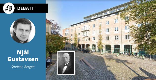 Lauritz Meltzers hus i Fosswinckels gate 6, bygget som huser det samfunnsvitenskapelige fakultet (SV-bygget) ved Universitetet i Bergen. Meltzer (det lille bildet) ville at pengene  skulle gå til et universitet i Fredrikstad dersom det ikke hadde blitt noe av i Bergen.