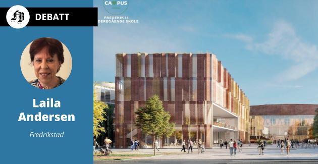 Foran skoledelen av prosjektet (bildet) er det tenkt et stort torg i midten, som binder skolen sammen med arena og flerbrukshall.