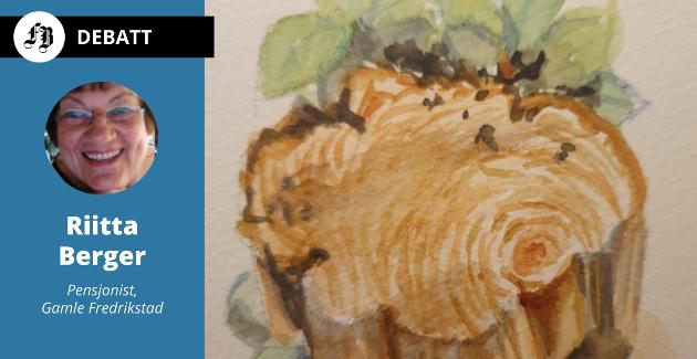 Riitta Berger sitter igjen med dette minnet av fire felte lindetrær i Gamlebyveien, bildet hun selv har malt av en stubbe som sto igjen.