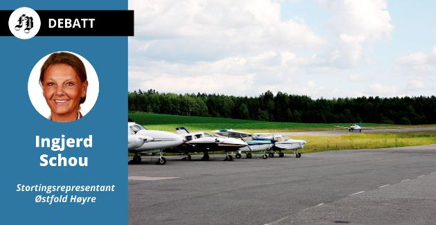 – Rakkestad Airport har vært drøftet og orientert om i Samferdselsdepartementet tidligere, melder Ingjerd Schou.