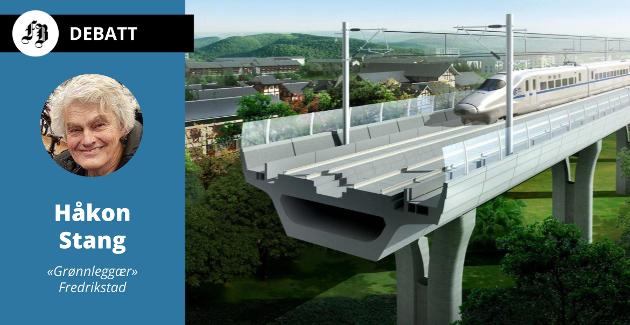 Stang mener linjene skal bygges på påler, og at togene skal gå i superfart.
