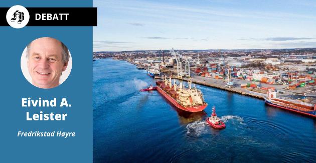Bilde fra februar i år: På grunn av en mudderbanke utenfor Titankaia måtte skipet Federal Swift legge til ved Borg Havn for laste om søyabønnene som skulle til Denofa.