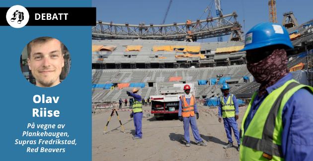 Arbeidere på Lusail stadion 2019. Onsdag 16. juni tar FFKs medlemmer stilling til boikott av mesterskapet.