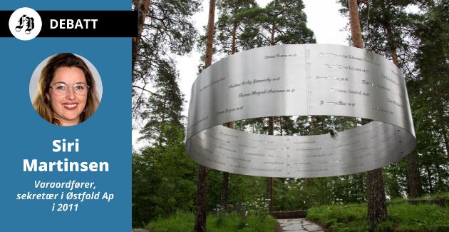 Minnesmerket «Lysningen» på Utøya, med navn og alder på de 69 som ble drept av Anders Behring Breivik 22. juli 2011.